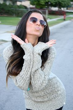 knit sweater & hair <3