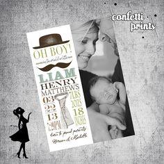 Photo Baby Birth Announcement - LITTLE MAN Printable. $12.00, via Etsy.