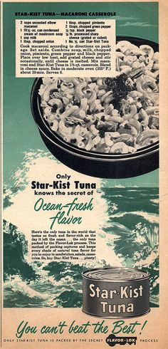 Star-Kist Tuna Macaroni Casserole that's just bursting with iconic mid-century ingredients (think pimento, cream of mushroom soup, and processed cheese). 1950s #tuna #casserole