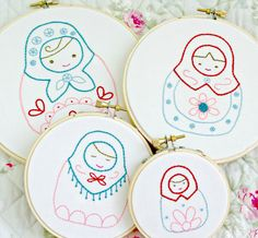 Russian Nesting Doll Matryoshka Dolls Hoop Art Set Hand Embroidery Red Pink Teal Blue Girls Room Decor  In love with these!