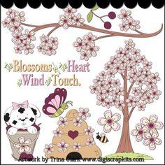 Blossoms of the Heart Clip Art - Original Artwork by Trina Clark