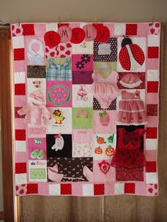 Quilts out of old baby clothes.