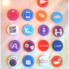 #ibmimpact 2012 conference Foursquare specials and mayorships promotion buttons - designed by Maxx Anderson and Ryan Boyles