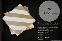 metallic striped coasters //