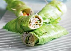 Hummas lettuse wraps Easy and healthy lunch idea.