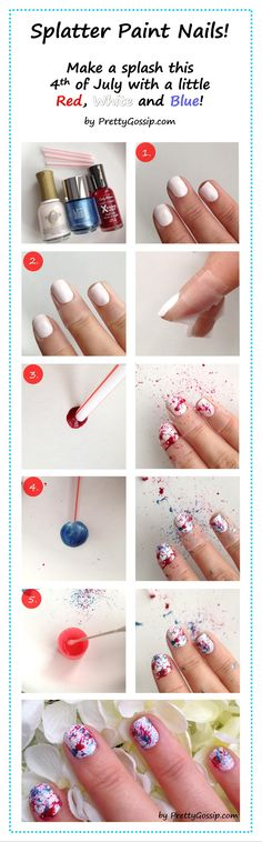 Red, White & Blue Manicure for 4th of July - Easy Splatter Paint Nails