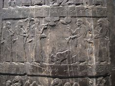 The Black Obelisk of Shalmaneser III, showing Jehu (king of Israel) paying tribute to the Assyrian king.
