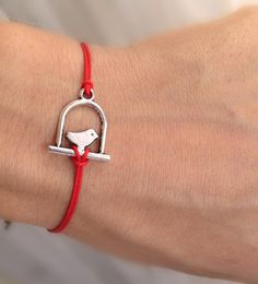 Red rope  With silver Bird  Wish Bracelet by pier7craft on Etsy, $5.50