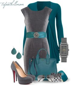 """""""Teal & Grey"""" by tufootballmom ❤ liked on Polyvore"""