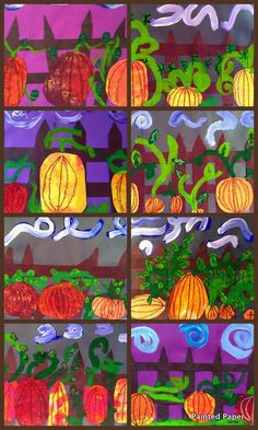painted paper- pumpkins elementary art education lessons projects autumn fall Halloween