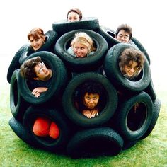 Car Tyre Sphere with helpers by Nick Sayers, via Flickr. 32 car tires bolted together to form an amazing outside toy for the kids (and pets). Part of Nick Sayers' Geodesic Spheres project.