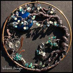 Wire Wrapped Seaside Blues Gemstone and Swarovski by CathyHeery