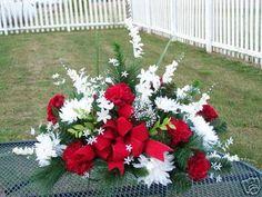Tombstone Saddle Cemetery Headstone Silk Flowers Arrg.. $69.99, via Etsy.