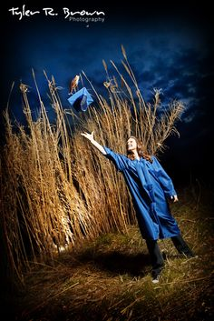 Here's a fun photo of Hannah in her graduation gown, throwing her cap in the air!