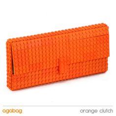Orange clutch made entirely of LEGO bricks. $120.00, via Etsy.
