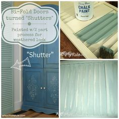Repurposed Bi Fold Door turned Shutter - EASY 2 part paint process for weathered look  artsychicksrule.com #chalkpaint
