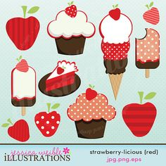 Strawberry licious RED Cute Digital Clipart for Card Design, Scrapbooking, and Web Design printabl birthday, aplicacion, card designs, web design, birthday parties, strawberri, digit clipart, cards, digital clipart
