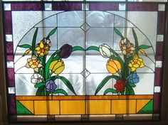 flower larg, spring flowers, flower panel, glass artstain, glass flower, window panel, ebay, stain glass, stained glass