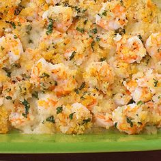 Baked Garlicky Shrimp-I just made this and it was good. I did add  a LOT more seasoning than the recipe calls for. (Garlic powder and Emeril's Essence). Old Bay would also be good. There is no additional salt needed with the Essence or Old Bay. I served this with rice and biscuits.