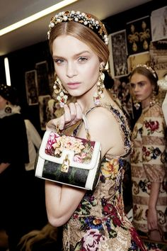 gabbana, baroque, fashion models, runway, backstag