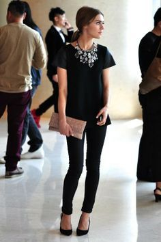All Black + Statement Necklace | via Elements of Style