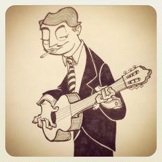 Django Reinhardt cartoon character illustration from sketchbookjack.wordpress.com