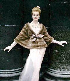 Monique Chevalier in a natural Emba mink jacket by Marron Fourrures, photo by Virginia Thoren 1958 {Repin}