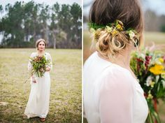 Flower hair piece + wildflower bouquet
