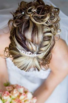 low bun hairstyles for weddings tiara | Curly Updo Hairstyles for Weddings