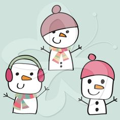 This cute Christmas clip art shows images of charming little snowman clip art, ready to go out and play!   #clipart
