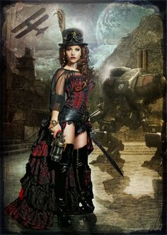Like this look of long bustle-skirt, with only shorts in front. -RB  #steampunk #goth #gothic #neovictorian #fashion #costume #female #woman #boots #corset