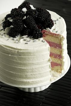 Blackberry coconut lime cake