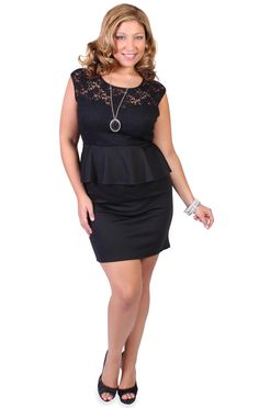 Curvy Girl Fashion sweetheart illusion lace contrast peplum dress