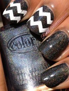 Chevron #black #stripednails #nailart 3white - bellashoot.com #nails