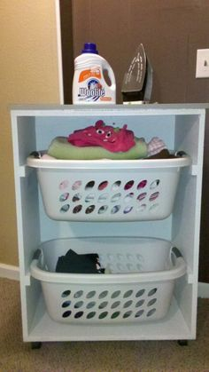 Rolling Laundry Cart | Do It Yourself Home Projects from Ana White--I think we're going to make this to go in the boys new bathroom. Bigger bedroom, but storage space is less...