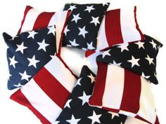 Cornhole Bags -Stars and Stripe corn hole bags - Old glory colors, perfect for 4th of July Celebrations