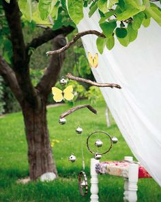 WIND CHIME: diy garden decor butterflies wind chymes bells twigs