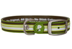 Green stripe water proof No-Stink Dog Collar by Orvis.