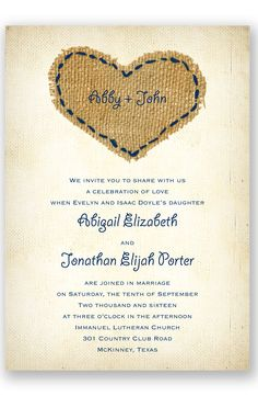 Burlap Heart Wedding Invitation by David's Bridal | Follow us and start pinning pretty paper options - from invitations and save the dates to programs and table numbers - for a chance to win $1,000 to InvitationsbyDavidsBridal.com. Enter here: http://sweeps.piqora.com/rsvpready