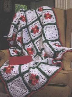 You'll be full of holiday cheer when you make this Poinsettia Squares Afghan. The design and texture will make this your favorite blanket. The free quick crochet afghan pattern is made with worsted weight yarn so it's warm and cozy.