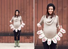 Expecting mom holding baby name banner featured on Onto Baby photos by STUDIO 1208