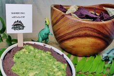 swamp dip and more dino themed party food