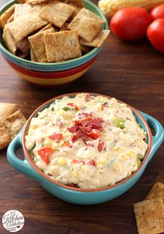 Lightened Up Cheesy Bacon Corn Dip Recipe l www.a-kitchen-addiction.com