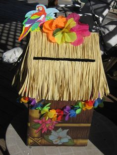 Tiki Hut Graduation Party Card Box for a Hawaiian theme luau graduation party ideas, graduation ideas, grad parti, parti idea, graduation parties, graduation luau, tiki hut, graduat parti, card boxes