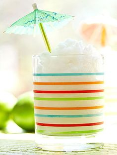 Coco-Lime Slushy: This yummy frozen drink offers a taste of the tropics. In a blender, combine 5 1/2 cups ice, 2/3 cup cream of coconut (found in the ethnic food aisle; we used Coco Lopez), 2 tablespoons fresh lime juice, and 1/4 cup water. Blend until smooth. Makes five 1-cup servings.
