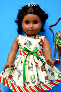 CUTE Christmas New Year Holiday Dress for American Girl -for ALL 18 Inch Doll
