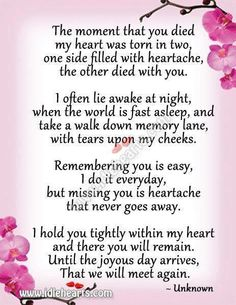 ...but missing you is heartache that never goes away. #poemoftheday