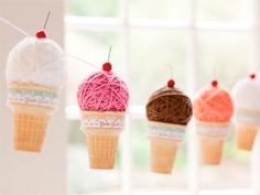 DIY Yarn Ball Ice Cream Cones