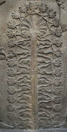 """""""Sacred Tree"""" Detail from a Stone relief from the throne room of Ashurnasirpal II   Nimrud (ancient Kalhu), northern Iraq   Neo-Assyrian, 870–860 BC   Click on the image url to see the full image"""