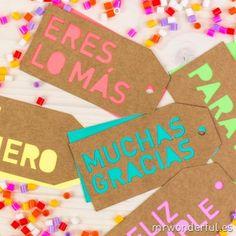 Etiquetas troqueladas para regalos molones - Colores neón